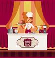 professional chef prepare food in kitchen online vector image vector image