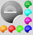 rainbow icon sign Set of eight multi colored round vector image vector image