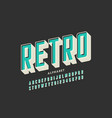 retro offset printing style font alphabet letters vector image vector image
