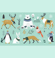 set christmas animals in forest bear fox vector image vector image