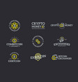 set of digital money and bitcoin cryptocurrency vector image vector image