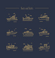 ships yachts contour icons vector image vector image