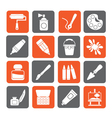 Silhouette Painting and art object icons vector image