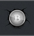 silver bitcoin on cracked background vector image vector image