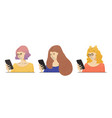 smiling woman with mobile phone women in vector image vector image