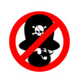 stop pirate red prohibiting sign rover ban vector image vector image
