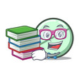 student with book drug tablet mascot cartoon vector image