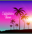 summer time beach scene with palm trees vector image vector image