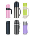 thermos mock-up set realistic vector image