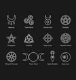 wiccan and pagan symbols pentagram triple moon vector image