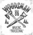 woodsman t-shirt print vintage hipster shirt vector image