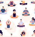 yoga pattern meditation people seamless vector image vector image