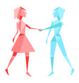 Abstract polygon couple holding hands vector image