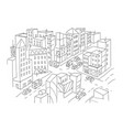 city street intersection sketch traffic road view vector image
