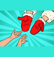 hand of santa claus and women vector image