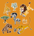 Africa Animals Trees Collection Set 01 vector image