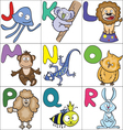 Alphabet with cartoon animals 2 vector image