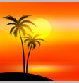 beach scene with sunset and palm tree vector image vector image