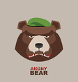 Bear soldier in a green beret Angry animal vector image vector image