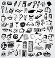 big set of doodled internet icons vector image vector image