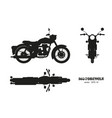 black silhouette retro classic motorcycle vector image