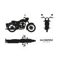 black silhouette retro classic motorcycle vector image vector image
