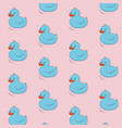 blue duck on pink background concept cute cartoon vector image vector image
