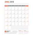 calendar template for 2018 year april business vector image vector image