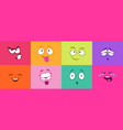 cartoon cute faces monster smile crying angry vector image