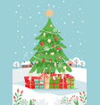 christmas tree with gifts and winter landscape vector image vector image