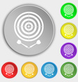 darts icon sign Symbol on eight flat buttons vector image