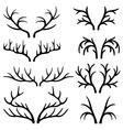 Deer antlers black silhouettes set vector image