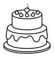 delicious cake with cherry celebration icon vector image vector image