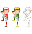 drafting character for baseball player vector image vector image