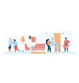 family cleaning home interior mother father and vector image vector image