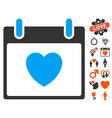 favourite heart calendar day icon with dating vector image