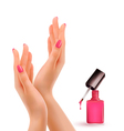 Female beautiful hands with a pink nail polish vector image vector image