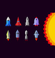 flat rockets set spaceship icons vector image