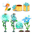 flower potion growing plants gift box and fairy vector image vector image