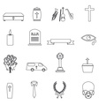 funeral simple black outline icons set eps10 vector image