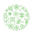 gmo free round concept green line vector image