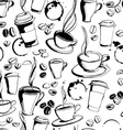 Grungy hand drawn ink coffee to go cups mugs and vector image vector image