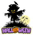 halloween scarecrow with full moon vector image
