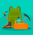 hiker backpack with tools and shoes background vector image