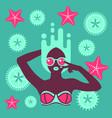 hot tan girl in bikini in flat pop art style vector image