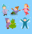 kids winter christmas games playground children vector image vector image