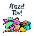 mazel tov inscription translation i happiness vector image vector image