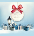 Merry Christmas card with a ribbon and gift boxes vector image vector image