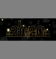 new year 2020 banner gold line party decoration vector image