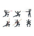ninja shows different tricks with weapons set of vector image vector image